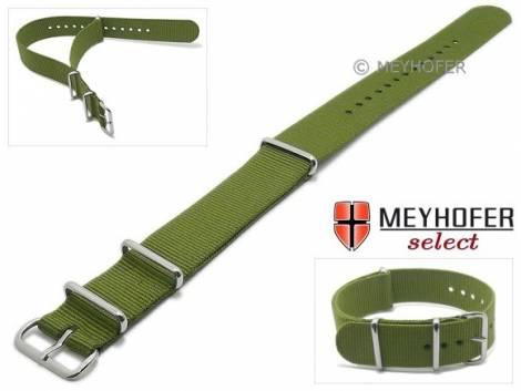 Watch strap -Ohio- 16mm olive green textile 3 metal loops one-piece strap in NATO style by MEYHOFER - Bild vergrößern