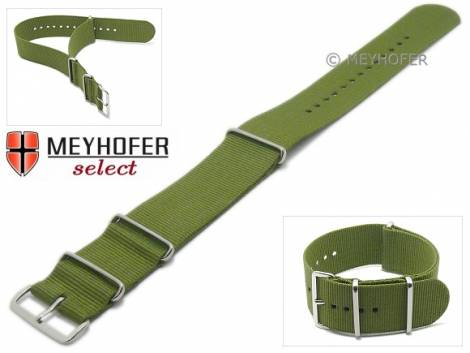 Watch strap -Ohio- 26mm olive green textile 3 metal loops one-piece strap in NATO style by MEYHOFER - Bild vergrößern