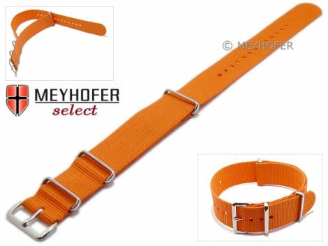 Watch strap -Ohio- 16mm orange textile 3 metal loops one-piece strap in NATO style by MEYHOFER - Bild vergrößern