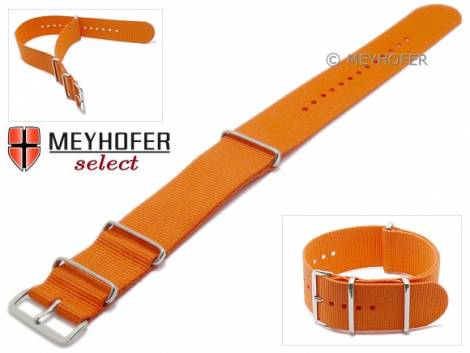 Watch strap -Ohio- 26mm orange textile 3 metal loops one-piece strap in NATO style by MEYHOFER - Bild vergrößern