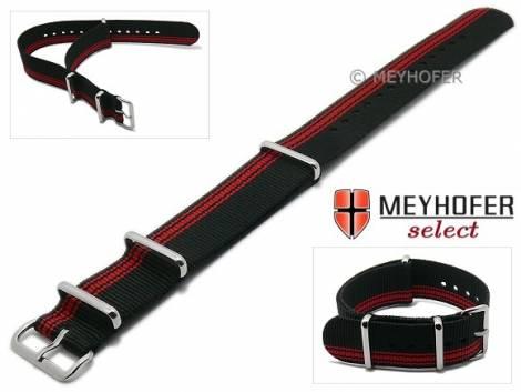 Watch strap XS -Iowa- 22mm black textile red asymmetric stripes 3 metal loops one-piece strap in NATO style by MEYHOFER - Bild vergrößern