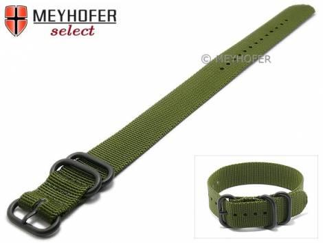 Watch strap -Wisconsin- 20mm olive green textile 2 black metal loops one-piece strap by MEYHOFER - Bild vergrößern