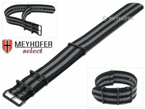 Watch strap -Kentucky- 28mm black textile grey stripes 3 black metal loops one-piece strap in NATO style by MEYHOFER - Bild vergrößern