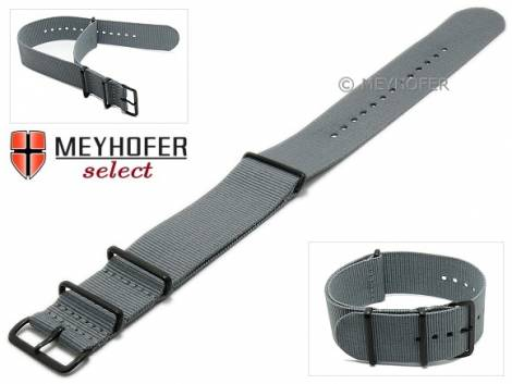 Watch strap -Georgia- 26mm grey textile 3 metal loops black one-piece strap in NATO style by MEYHOFER - Bild vergrößern