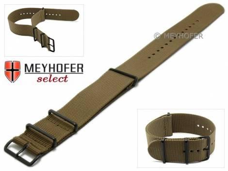 Watch strap -Georgia- 28mm brown textile 3 metal loops black one-piece strap in NATO style by MEYHOFER - Bild vergrößern