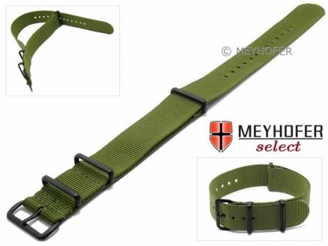 Watch strap -Georgia- 20mm olive green textile 3 metal loops black one-piece strap in NATO style by MEYHOFER - Bild vergrößern