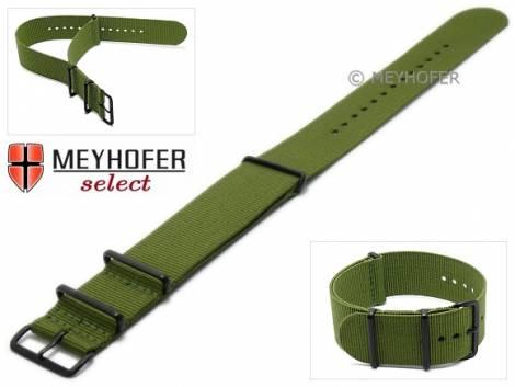 Watch strap -Georgia- 28mm olive green textile 3 metal loops black one-piece strap in NATO style by MEYHOFER - Bild vergrößern