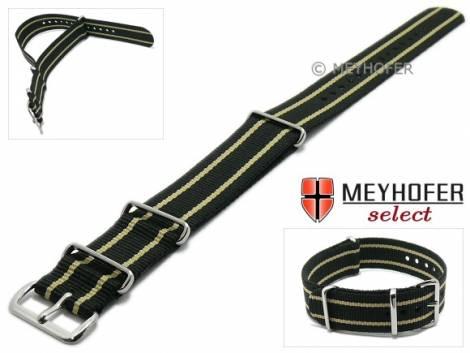 Watch strap -Nebraska- 20mm black textile beige stripes 3 metal loops one-piece strap NATO style MEYHOFER - Bild vergrößern