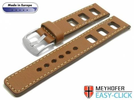 Meyhofer EASY-CLICK watch strap -Brega- 24mm light brown leather smooth racing light stitching (width of buckle 24 mm) - Bild vergrößern