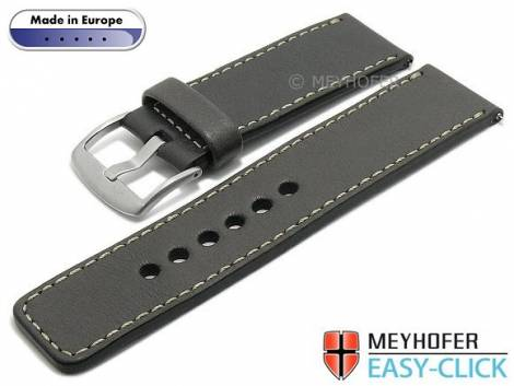 Meyhofer EASY-CLICK watch strap -Burgau- 26mm anthracite leather smooth surface light stitching (width of buckle 26 mm) - Bild vergrößern