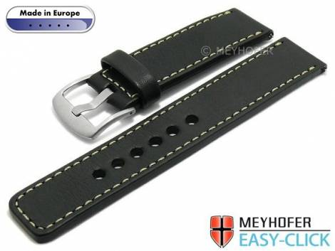 Meyhofer EASY-CLICK watch strap -Burgau- 20mm black leather smooth surface light stitching (width of buckle 20 mm) - Bild vergrößern