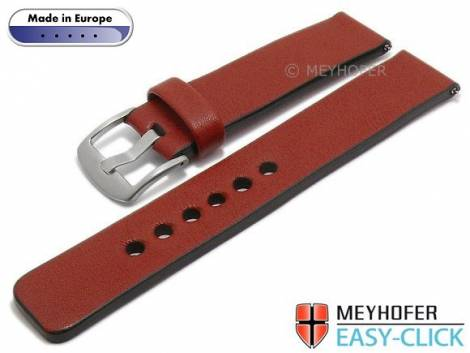 Meyhofer EASY-CLICK watch strap -Cardemin- 22mm red leather smooth surface (width of buckle 22 mm) - Bild vergrößern
