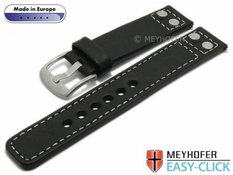 Meyhofer EASY-CLICK watch strap -Elbing- 24mm black leather smooth rivets light stitching (width of buckle 24 mm) - Bild vergrößern