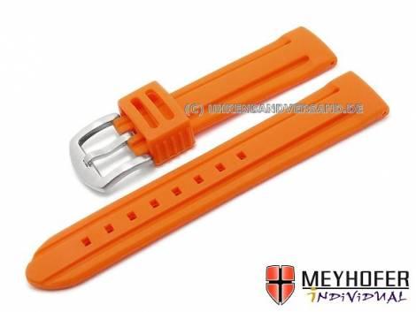 Watch strap -Bozen- 20mm orange silicone with 2 grooves matt by MEYHOFER (width of buckle 18 mm) - Bild vergrößern