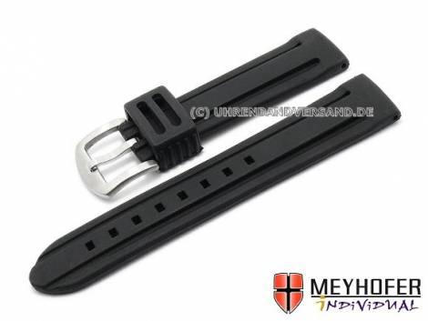 Watch strap -Bozen- 24mm black silicone with 2 grooves matt by MEYHOFER (width of buckle 22 mm) - Bild vergrößern