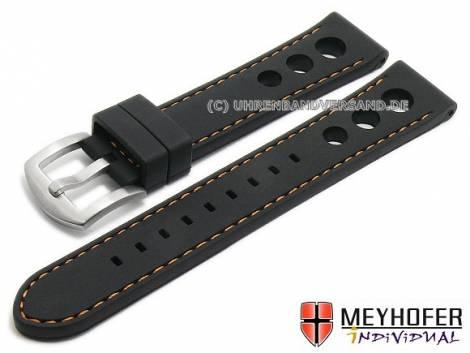 Watch strap -Bergamo- 22mm black silicone racing look orange stitching by MEYHOFER (width of buckle 20 mm) - Bild vergrößern