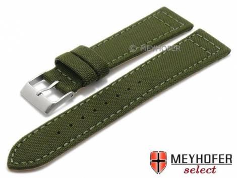 Watch strap -Tijuana- 18mm olive green textile stitched by MEYHOFER (width of buckle 16 mm) - Bild vergrößern