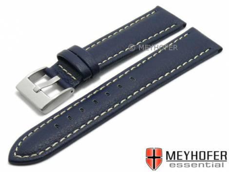 Watch strap XL -Veracruz- 18mm dark blue Lorica light stitching by MEYHOFER (width of buckle 16 mm) - Bild vergrößern