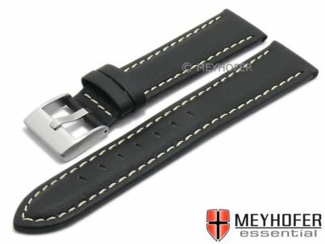 Watch strap XL -Veracruz- 24mm black Lorica light stitching by MEYHOFER (width of buckle 22 mm) - Bild vergrößern