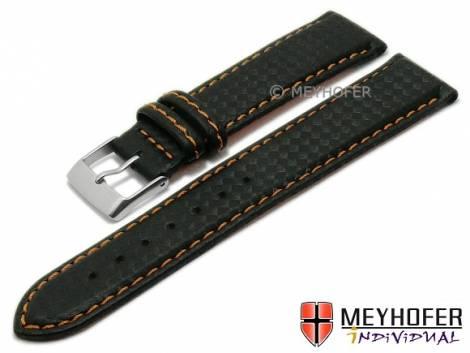 Watch strap -Waco- 24mm black synthetic carbon look orange stitching by MEYHOFER (width of buckle 22 mm) - Bild vergrößern