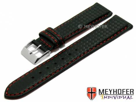 Watch strap -Waco- 24mm black synthetic carbon look red stitching by MEYHOFER (width of buckle 22 mm) - Bild vergrößern