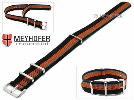 Watch strap -Lexington- 22mm black synthtic/textile grey orange stripes NATO style one-piece strap by MEYHOFER - Bild vergrößern