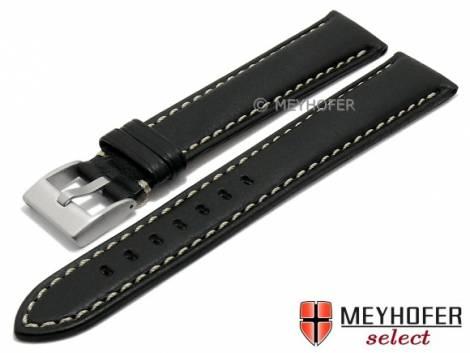 Watch strap XL -San José- 24mm black leather grained light stitching by MEYHOFER (width of buckle 22 mm) - Bild vergrößern