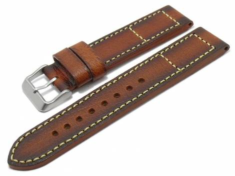 Watch strap -Englewood- 22mm light brown leather peccary grain vintage look MEYHOFER (width of buckle 22 mm) - Bild vergrößern
