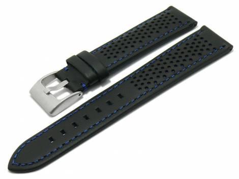 Watch strap -Batesville- 20mm black leather racing look blue stitching by MEYHOFER (width of buckle 18 mm) - Bild vergrößern