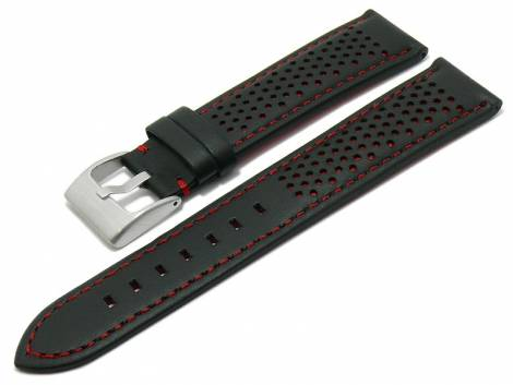 Watch strap -Batesville- 20mm black leather racing look red stitching by MEYHOFER (width of buckle 18 mm) - Bild vergrößern