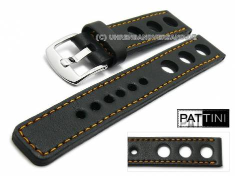 Watch strap 22mm black leather racing look robust matt orange stitching by PATTINI (width of buckle 22 mm) - Bild vergrößern
