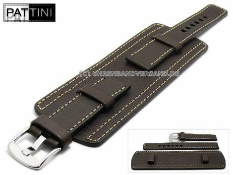 Watch strap 19mm dark brown leather military look robust with leather pad light stitched PATTINI (width of buckle 20 mm) - Bild vergrößern
