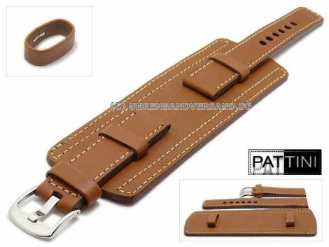 Watch strap 26mm brown leather military look with leather pad light stitching by PATTINI (width of buckle 26 mm) - Bild vergrößern