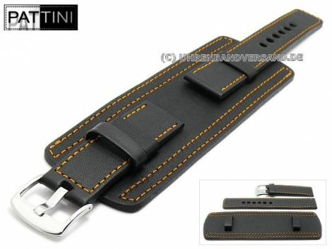 Watch strap 20mm black leather military look robust with leather pad orange stitching by PATTINI (width of buckle 20 mm) - Bild vergrößern