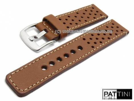 Watch strap 20mm light brown smooth rustic leather racing style light stitching by PATTINI (width of buckle 20 mm) - Bild vergrößern