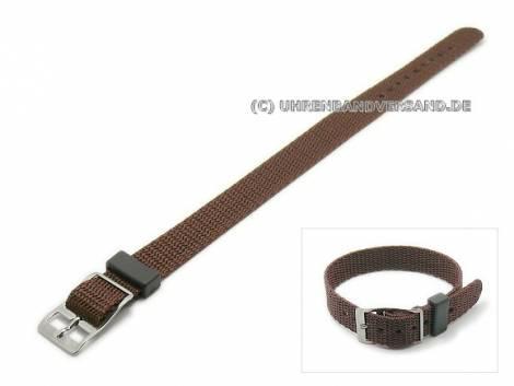 Watch strap 14mm brown nylon/textile one-piece strap (width of buckle 14 mm) - Bild vergrößern