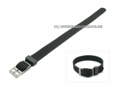 Watch strap 14mm black nylon/textile one-piece strap (width of buckle 14 mm) - Bild vergrößern