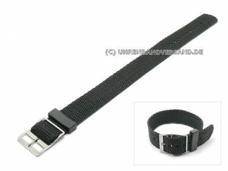 Watch strap 16mm black nylon/textile one-piece strap (width of buckle 16 mm) - Bild vergrößern