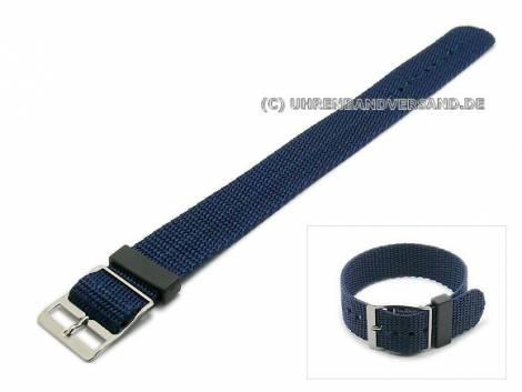 Watch strap 16mm dark blue nylon/textile one-piece strap (width of buckle 16 mm) - Bild vergrößern