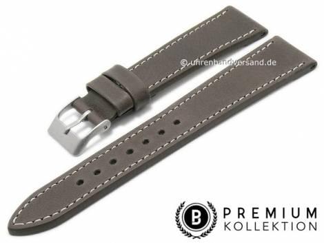 Watch strap 21mm dark brown leather vintage look smooth light stitching by PEBRO Premium (width of buckle 18 mm) - Bild vergrößern