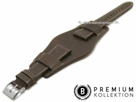 Watch strap 21mm dark brown leather vintage look with leather pad by PEBRO Premium (width of buckle 18 mm) - Bild vergrößern