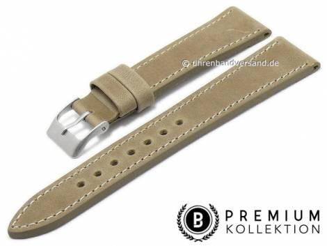 Watch strap 19mm dun leather vintage look smooth light stitching by PEBRO Premium (width of buckle 16 mm) - Bild vergrößern