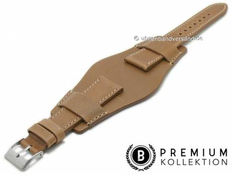 Watch strap 21mm brown leather vintage look with leather pad by PEBRO Premium (width of buckle 18 mm) - Bild vergrößern