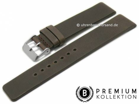 Watch strap 16mm dark brown leather vintage look smooth without stitching by PEBRO Premium (width of buckle 16 mm) - Bild vergrößern