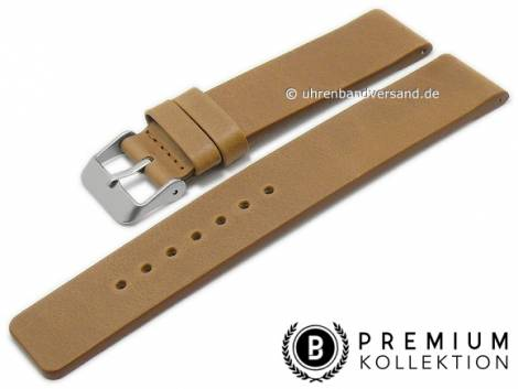 Watch strap 16mm brown leather vintage look smooth without stitching by PEBRO Premium (width of buckle 16 mm) - Bild vergrößern