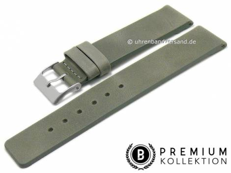 Watch strap 16mm grey leather vintage look smooth without stitching by PEBRO Premium (width of buckle 16 mm) - Bild vergrößern