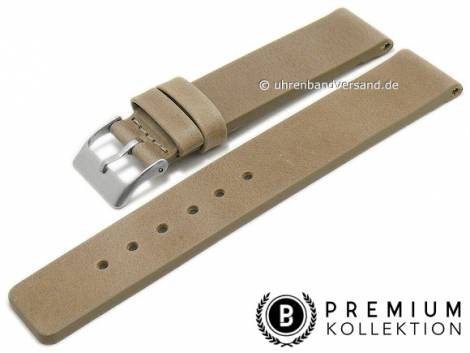 Watch strap 16mm beige leather vintage look smooth without stitching by PEBRO Premium (width of buckle 16 mm) - Bild vergrößern