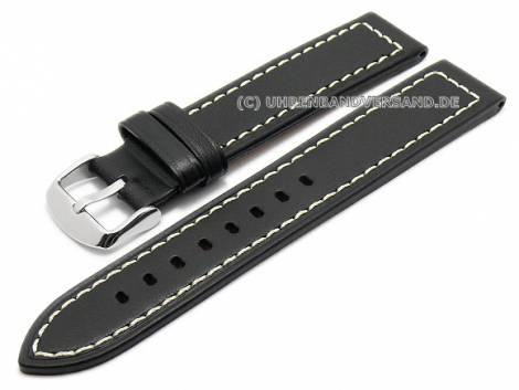 Watch strap XL 24mm black leather robust optics light stitching (width of buckle 24 mm) - Bild vergrößern