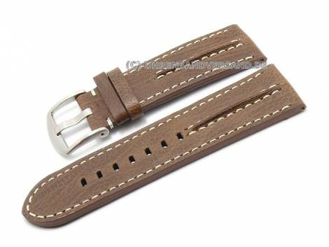 Watch strap 26mm dark brown leather aviator-look light stitching (width of buckle 26 mm) - Bild vergrößern