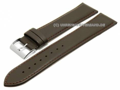 Watch strap XL super long 26mm dark brown leather smooth stitched (width of buckle 24 mm) - Bild vergrößern